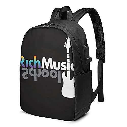 Rich Music - Mochila de viaje para portátil con puerto de carga USB para hombres y mujeres de 17 pulgadas, ver imagen, Talla única,