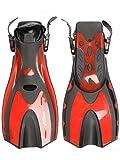 Two Bare Feet Palmes de plongée – Snorkelling Scuba Dive (UK9-13, Rouge)