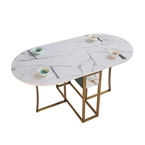 Eettafel LKU Ovale opvouwbare eettafel marmeren patroon tafel gouden ijzeren frame MDF tafel lengte 150 cm, marmer patroon