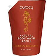 Puracy Body & Hand Wash Refill, Bergamot & Sandalwood, Natural Gel Soap for All Skin Types, 64 Oz
