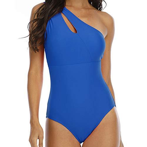 QWJYREMN Traje De Baño De Una Pieza Mujer Traje De Baño Azul De Un Hombro Mujeres Trajes De Baño De Una Pieza Traje De Baño Sin Espalda para Mujer Traje De Baño Deportivo Traje De Baño De Playa