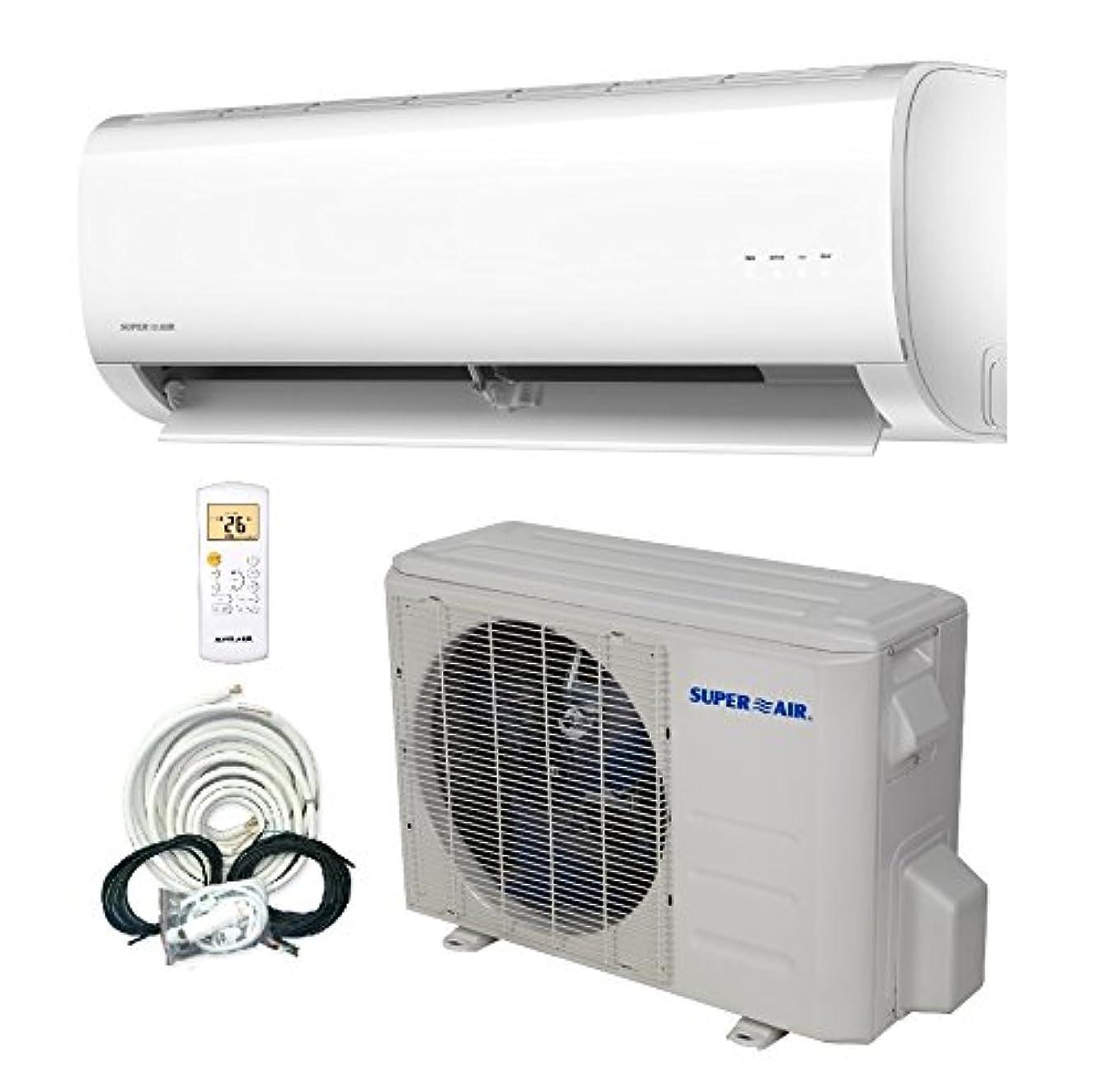 SuperAir 9000 BTU 15 SEER (3/4 TON) Ductless Mini Split System Inverter Air Conditioner with Heat Pump 110V - FULL SET