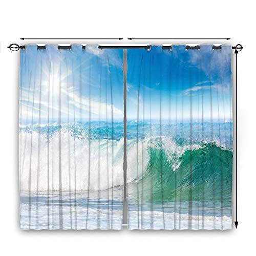 Juego de 2 cortinas con arandelas de olla, diseño de paisaje de verano con olas y cielo, ideal para cortina de ventana de varios colores, estilos y tamaños de 160 x 72 pulgadas de ancho, color azul claro helecho Gree