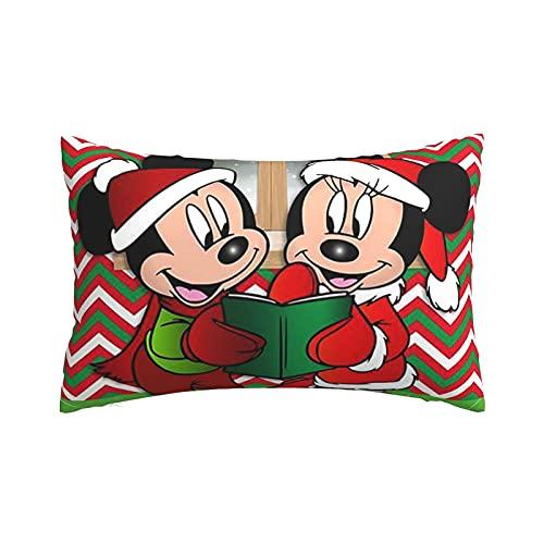 Feliz Navidad Mickey Mouse Minnie Mouse, fundas de almohada ligeras supersuaves con cremallera, funda de cojín protectora para el hogar sofá cama