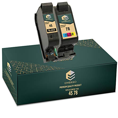 EMBRIIO 45 78 Cartuchos de Tinta Reemplazo para HP Officejet 1170 G55 G85 G95 K60 K80 Fax 1220 Photosmart 1000 1100 1115 1215 1315 P1000 P1100 Copier 180 280 Deskjet 1180c 1280 6120 9300 970cxi