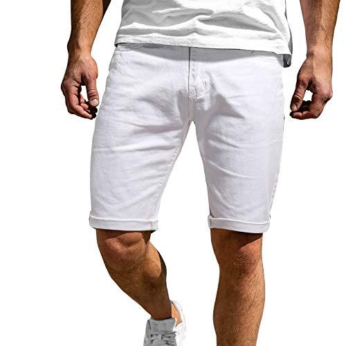 Xjp Herren Flat Front Shorts Sommer Casual Fitness Bodybuilding Solide Taschen Sport Shorts Hosen Sportliche Shorts(Weiß,L)