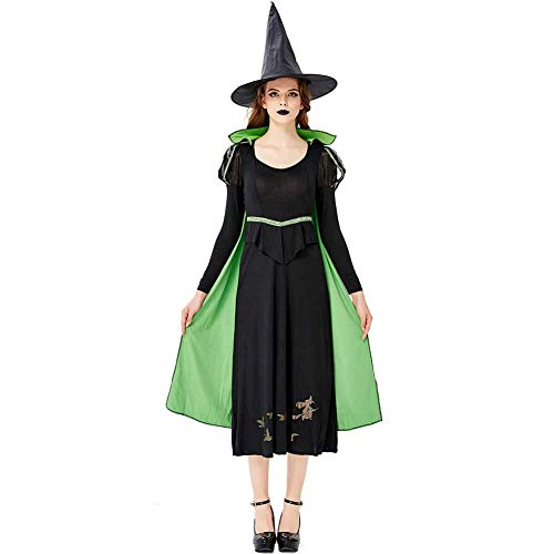GLXQIJ Travestimento da Donna in Maschera da Strega Malvagia, Costume da Donna per Adulti da Strega di Halloween, Include Abito, Mantello E Cappello,Green,L