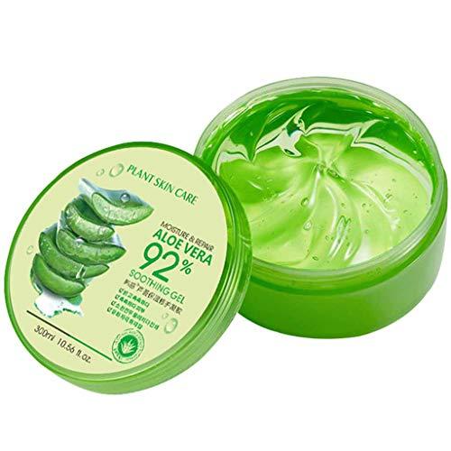 BRISEZZ Aloe Vera Gel 92% Natürliche Aloe Essenz Gesichtscreme DIY Handwäsche Aloe Vera Feuchtigkeitslotion Gesichtscreme Schlafmaske Perfekt Glatt Schützen Sie die Haut 300ml