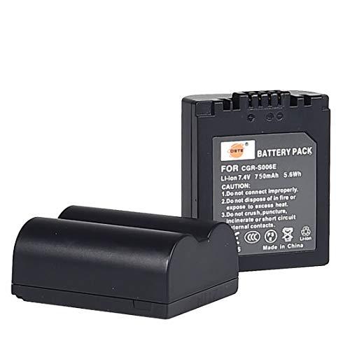 2pcs CGR-S006E DSTE Li-Ion Batería Compatible para Panasonic S006E, CGR-S006, CGR-S006A/1B, CGA-S006E, CGA-S006, DMW-BMA7 y Panasonic DMC-FZ28EFK,DMC-FZ28EFS, DMC-FZ18EB,DMC-FZ18EG,DMC-FZ18K