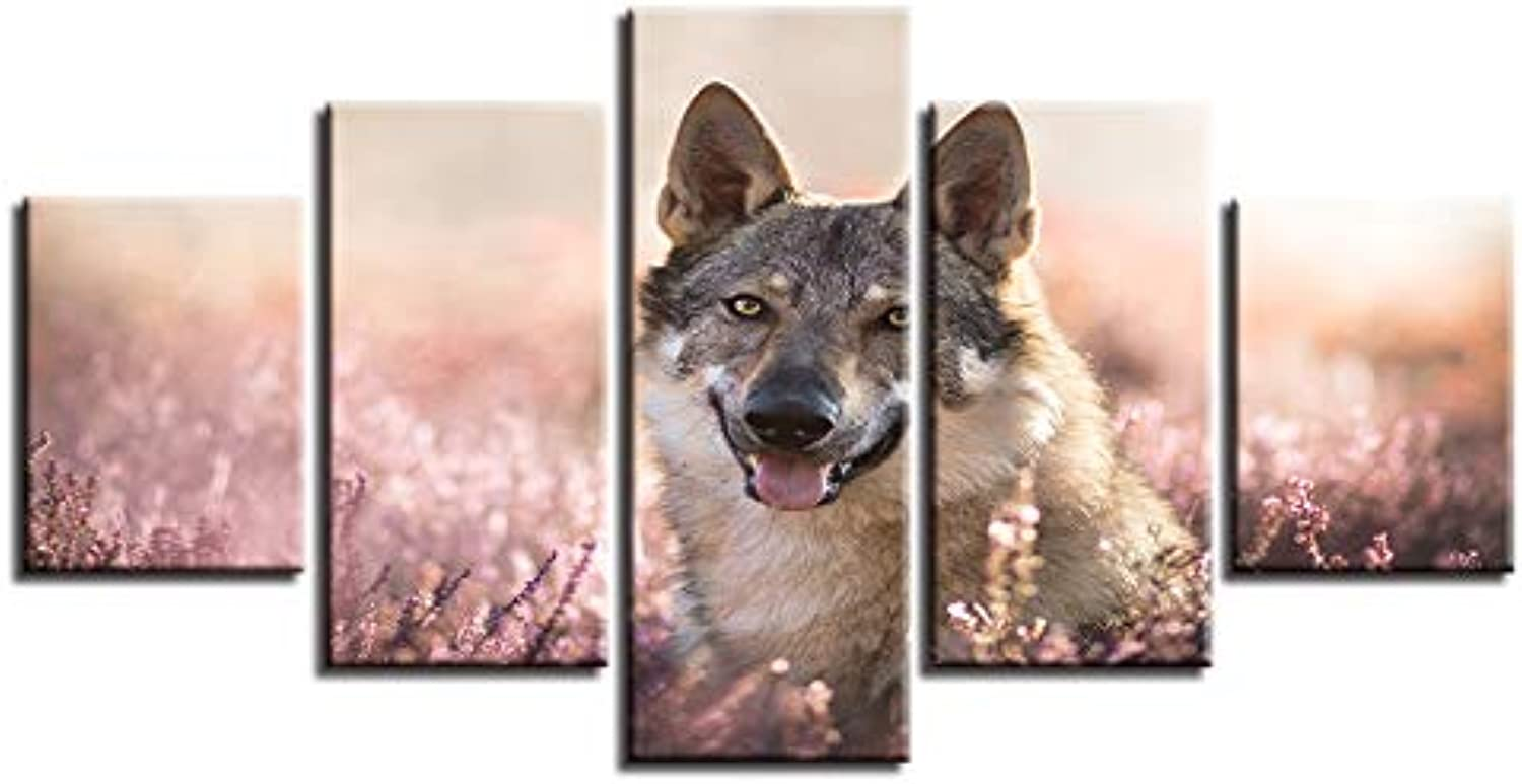 Home Decorative Modular Picture Framework Wall 5 Panel Animal HD Canvas Oil Painting Art Prints Posters for Living Room