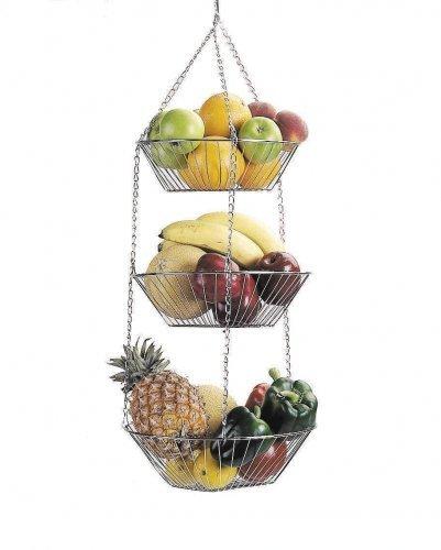 Panier Suspendu 3 étages - Fruits et Légumes - Chrome