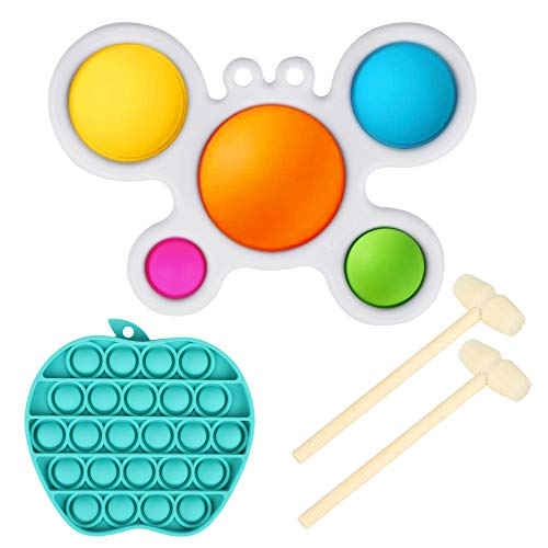 Crab Shape Simple Dimple Fidget Toy, Dimple Popper Toy Pack with 1 Push Pop Bubble Fidget Sensory Toy,Sensory Teething Toys for Toddlers and Autistic Children,Autism Toys with Two Wooden Mallet
