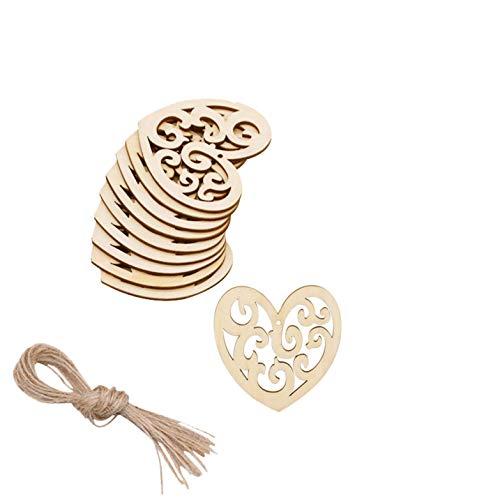 PEPAXON Corazón Rebanadas de madera sin terminar Ahueca hacia fuera Etiquetas de madera en blanco Decoración de boda 20 piezas