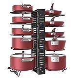 Estante para ollas, 10 niveles de altura ajustable con pies antideslizantes, 3...