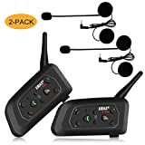 EJEAS V6 PRO Motorcycle Helmet Intercom Headset Bluetooth, Wireless Interphone System for Rider with 5-Way PairingWaterproof IP65Talking Range 1200mPhone ConnectionHands-freeStereo Music|2 Packs