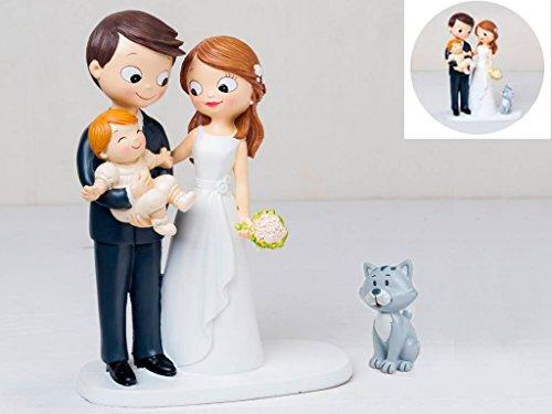 Momparler1870 Figura Novios Tarta con bebé a Brazos acompañados de Mascota Gato