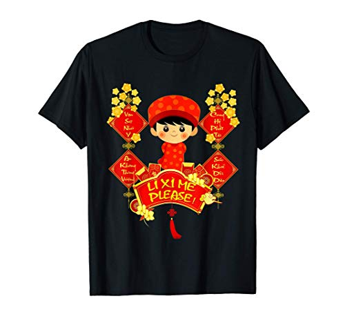 Li Xi Me Please Vietnamese Red Cute Ao Dai Boy Flowers T-Shirt