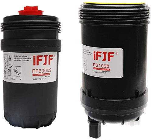 iFJF FF63009 Fuel Filter for 5303743 With FS1098 Fuel/Water Separator PCV Valve for 5319680
