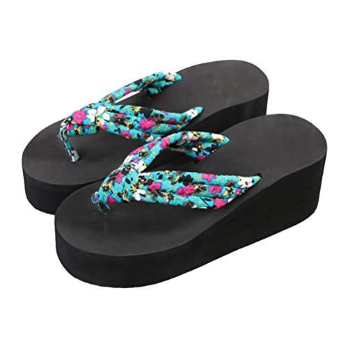 Holibanna 1 par de sandálias femininas de salto alto com sola grossa para o verão, Azul-celeste, 6