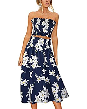 ULTRANICE Women s Floral Print Tube Crop Top Maxi Skirt Set 2 Piece Outfit Dress 597A,XL
