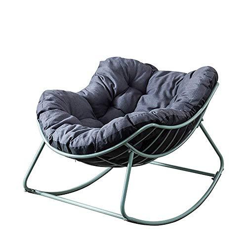 LKK-KK Mecedora Inicio Ocio Mecedora cómodo del sillón reclinable Acolchonadas Muy Adecuado for el Dormitorio de la Sala Balcón Estilo Moderno Mecedora (Color: Verde, Tamaño: 110x79cm)
