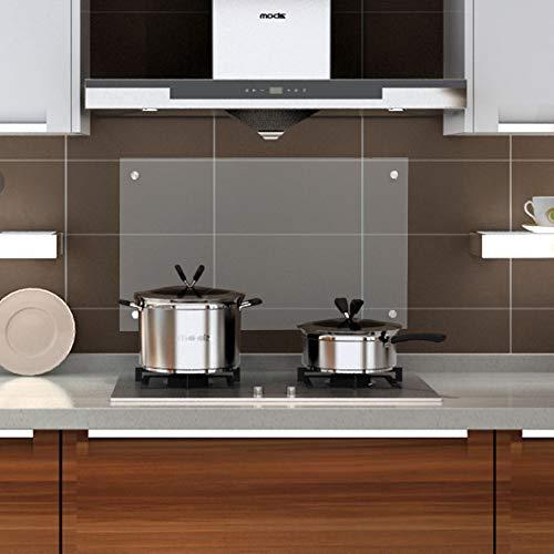 wolketon Küchenrückwand Spritzschutz Glas Klarglas Küchenrückwand für Küche, Herd, Fliesen viele Größen (Klarglas, 50x70cm)