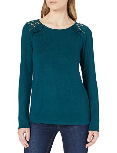 Springfield Camiseta Volante Lace Hombros, Verde, M para Mujer