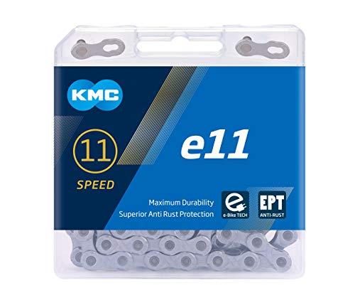 "KMC Unisex– Erwachsene e11 EPT E-Bike 11-Fach Kette 1/2\"" x11/128, 122 Glieder, Silber"