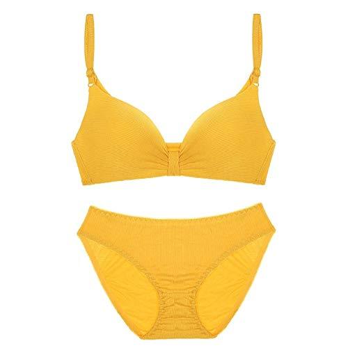 Cwang Sujetador con Aros sin Relleno para Mujer,Amarillo,XL