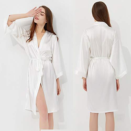 Buyall Pyjama-Frauen Sommer-Nachthemd Ice Silk Sexy Super Long Sommer Bademantel Fee Simulation Silk Spitze Nightgown Startseite Kleidung,White 02,XXL