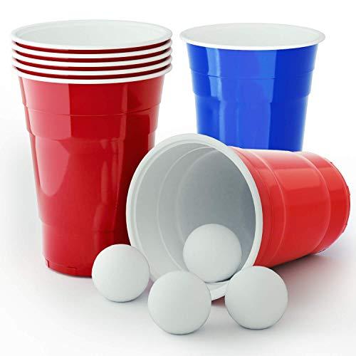 Feierwütig Premium Beer Pong Set · Extrem robust und Spülmaschinenfest · 22 American Cups und 4 hochwertige Bälle