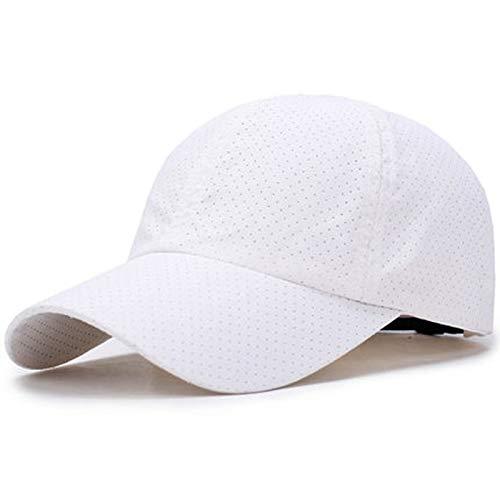 Gorras Sombrero Hombres y Mujeres Verano Tapa Seca y Delgada Visor Protector Solar Transpirable béisbol de Pesca Deportiva al Aire Libre (Color : White)