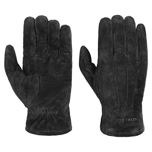 Stetson Basic Pigskin Lederhandschuhe Handschuhe Herrenhandschuhe Fingerhandschuhe Herren - mit Futter Herbst-Winter - 8 1/2 HS schwarz