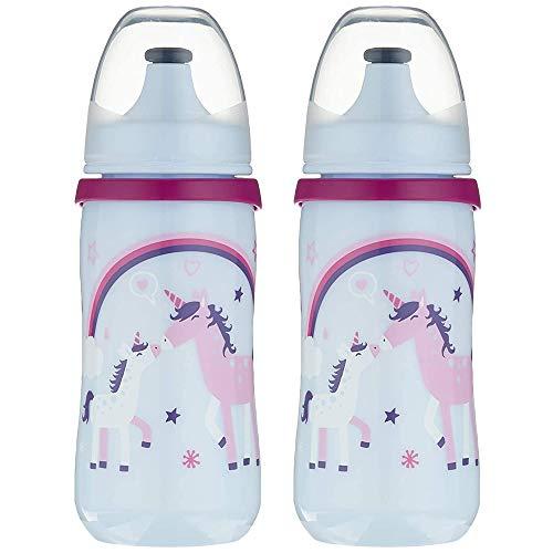 NIP Kinder Trinkflasche 330 ml Kinderflasche kids cup sportflasche mit Push-Pull, 2 Stk. Girls, BPA frei, made in Germany