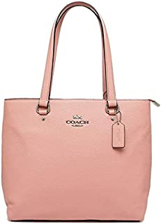 Coach F48637 SV/ET Pebble Leather Bay Tote Shoulder Bag - Silver/Petal