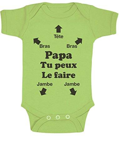 Green Turtle T-Shirts Body Papa Tu Peux Le Faire ! Futur Papa Naissance Annonce Grossesse Body Bébé Manche Courte 12-18 Mois Vert Clair
