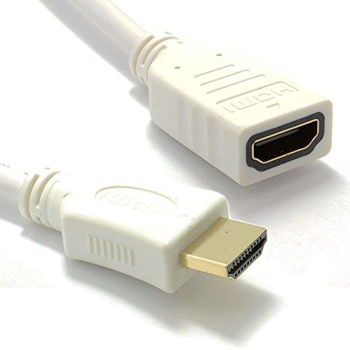 Weiß HDMI 1,4 Hoch Geschwindigkeit 3D TV Verlängerung Anschlusskabel Männlich Weiblich Kabel 0,25 m [0.25 Meter/0,25m]
