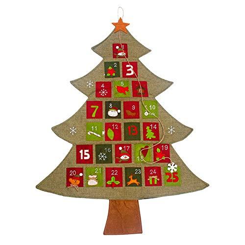 MZY1188 Calendario de Adviento de Navidad, Calendario Colgante Calendario de Adviento de Navidad Cuenta atrás para el árbol de Navidad, Adornos de Año Nuevo