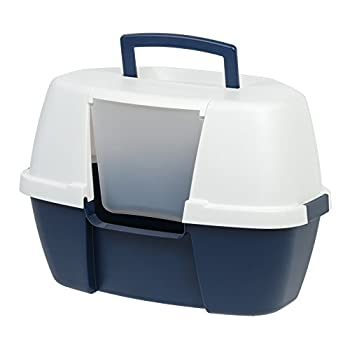 Iris Ohyama, Maison de toilette, absence de dispersion de litière et d'odeur, gain de place, portable, hauteur de l'entrée : 13.8 cm, pelle incluse, pour chat - Corner Litter Box CLH-14C - Bleu