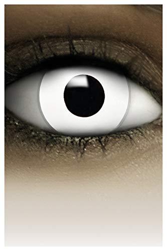 FXCONTACTS Farbige Halloween Kontaktlinsen weiß ZOMBIE, weich, 2 Stück (1 Paar), Ohne Sehstärke