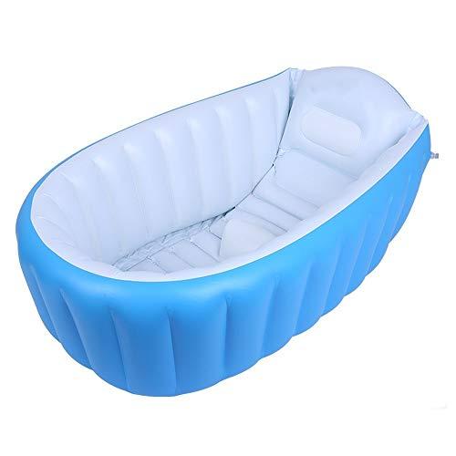 XWX Bebé De La Bañera Inflable Grande Espesa El Recién Nacido Los Niños Pueden Sentarse Y Acostarse Portátil Plegable Bañera (Color : Blue)