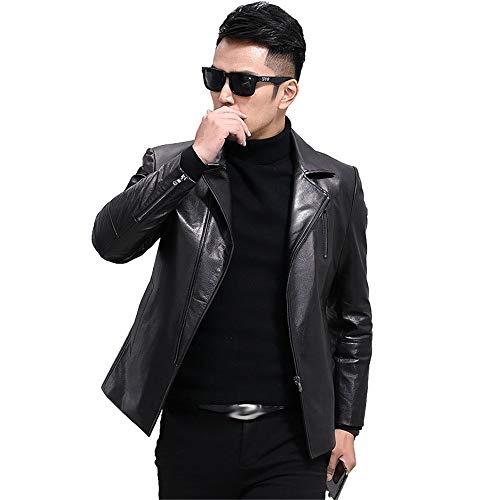Chaqueta de cuero para hombre, color negro, chaqueta de cuero para hombre, delgada, cuello de traje de motocicleta, chaqueta de cuero delgada, elegante casual y de fiesta (color: negro, tamaño