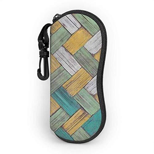 AOOEDM Estuche para gafas suave con mosquetón, Estuche portátil para gafas de sol Vintage Madera Bambúes Fondo de textura de mimbre
