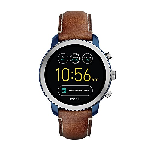 Fossil Q Men's Gen 3 Explorist Stainless Steel Quartz Watch with Leather Strap, Brown, 22 (Model: FTW4004