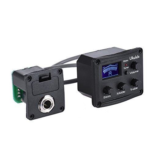 ammoon Ukulele Ukelele Uke Piezo Pickup Preamp 3-Band EQ Equalizer Tuner System mit LCD-Display