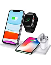 Draadloze Oplader Dock-standaard voor Airpods Pro Apple Watch SE 6-1,Dikkar Qi 4 in 1 Opvouwbaar Snel Draadloos Oplaadstation Compatibel iPhone 12/11/Pro/Max/Mini/X/Xs/XR/Max/8 & Galaxy S10+/Note 10/9