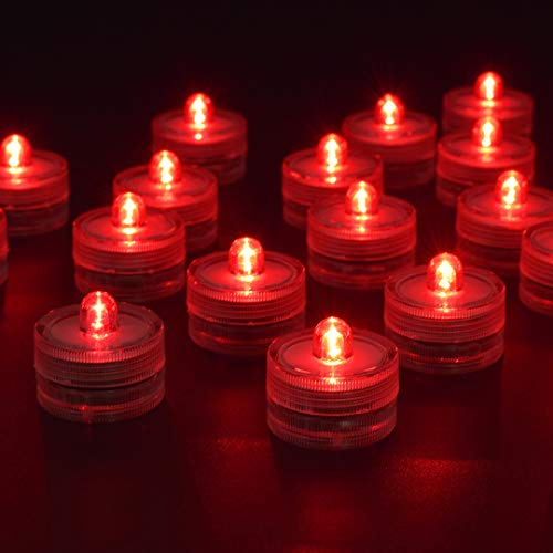 HL 24pack Rot Wasserdichte Unterwasser Runde Mini LED Teelichter Tauchleuchten f¨¹r Hochzeit Home Party Vase Festival Valentinstag Dekoration