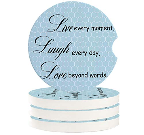 Absorbent Car Coasters for Cup Holders Set of 4 Inspirational Quotes, 2.56inch Ceramic Stone Drink Coaster Car Accessories for Women Men, Blue Honeycomb Back