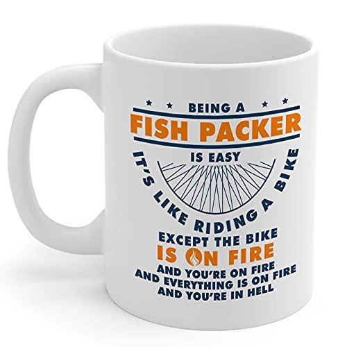 N\A Peces Packer Regalos 11oz Taza de café de cerámica Blanca Hombres y Mujeres de Pescado Paquete
