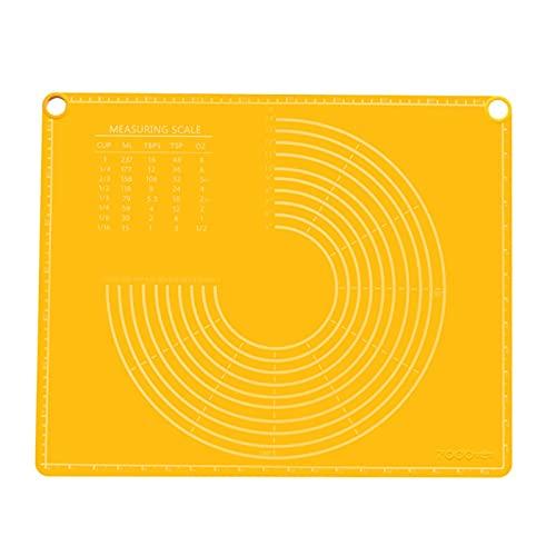 Backmatten 50x40cm Silikon-Antihaft-Backmatte Rollteig Knetkissen Verdickte Lebensmittelgrad-Gebäckmatte mit Waagen Küchenzubehör (Color : Yellow, Pastry Board Size : 50x40cm)